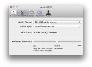 GarageBand setup audio midi tab