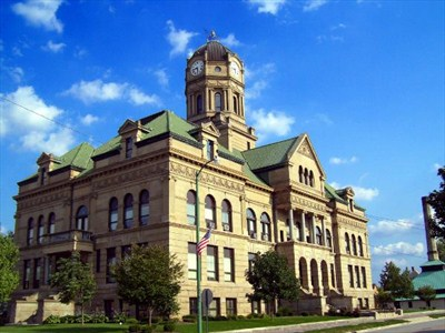 The historic & beautiful  Auglaize County Courthouse in downtown Wapak.